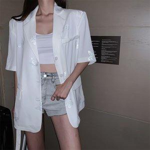 Kelebek Yansıtıcı Blazer Yaka V yaka Toplama Düğmesi Kıyafet Kore Kadınlar Gevşek Kısa Gömlek Bluz Seksi Harajuku blusa
