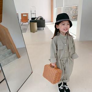INS primavera para niños de las niñas de algodón del mono de los pantalones de traje de trabajo Diseños botones frontales elástico Wasit Pantalones de primavera muchachas de los niños Pantalones