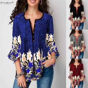 New Fashion Womens 3 4 Sleeve Tunic Long Tops 3 4 Sleeve Female Casual Round Neck Blouses Ladies Floral Printed Shirts Plus