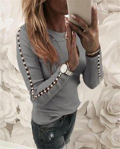 O Boyun Üst Bahar İnce Bayan Casual Tee Tasarımcı Bayan İnci Patchwork Tshirts Moda Hollow Out Uzun Kollu Bayan