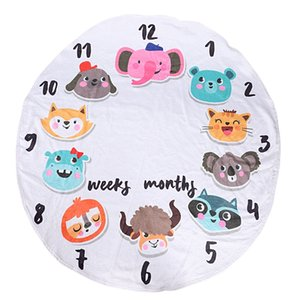 Flannel Round 0-1 Years Infant Baby Monthly Swaddle Milestone Blanket for Shower Gift Photography Backdrop (Animals)