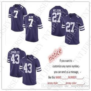encargo baratos Kansas State Wildcats camisetas de fútbol 7 Collin Klein 27 Jordy Nelson 43 Darren Sproles puntada de la personalización de cualquier número nombre