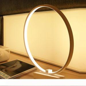 Настольные лампы Современные Минималистский круглой формы светодиодные настольные лампы Деревянные кронштейн Исследование Настольная лампа Decor свет стол для чтения Спальня 10156