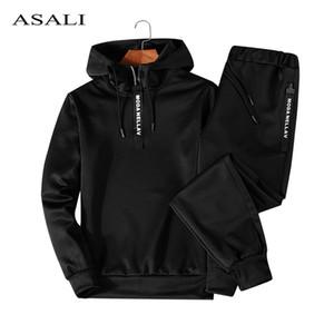 ASALI Hoodies Set Men Automne Survêtement Mens Casual capuche capuche + Pantalons 2 pièces Sportwear overs hommes Ensembles Homme Outwear 5XL