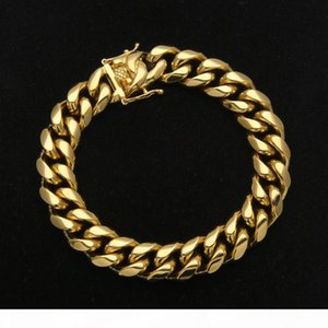 Men Stainless Steel Cuban chain Bracelet Fashion Hip Hop PVD Plated Buckle Bangles Gold color Rapper Jewelry 9inch Long 8,10,12,14mm Width