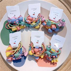 5 пара Новая Корея Дети Простые Симпатичные Rope мультфильм фрукты Lollipop Резинка для волос Sweet Girl Детские хвостик Аксессуары для волос Набор PdId #
