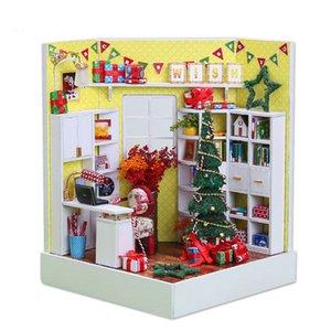 Christmas mini dollhouse with dust cover light books wooden miniatures figures diy doll house kits toys mainan rumah boneka MX200414
