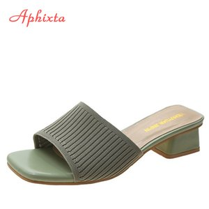 Aphixta Pamuk Stretch Kumaş Kadın Terlik Mule 4.5cm Kare Topuklar Uçan Dokuma Slaytlar Kadınlar Terlik Yaz Ayakkabı Kadın