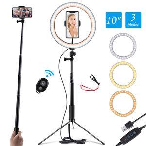 10 İnç LED Selfie'nin Halka Işık Standı Cep Telefonu Youtobe Fotoğrafçılık Dolgu Işığı Kamera Tripod USB Dairesel Fotoğraf Halka Lambası