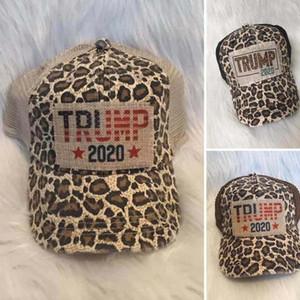 Trump Pferdeschwanz Messy Brötchen Hüte 2020 Keep America Großer Baseball Cap Washed Zerrissen Kreuz Caps Außen Trump Snapbacks Leopard Hat GGA3580