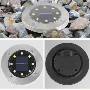 Solar Path Lights 8 LED 12 LED Solar Power Buried Light Waterproof Ground Lamp Outdoor Path Way Garden Decking Underground Lamps BH2975 TQQ