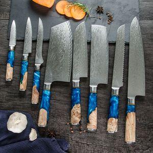 Кухня Гюто Шеф-повар Нож Японский VG10 Damascus Нож 67 слой Мясо Рыба Овощные Суши Фрукты Резка Нож Синяя Смола Ручка Оптом