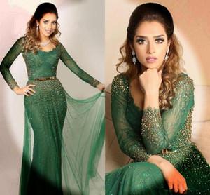 Saudi Arabic Dark Green Evening Dresses 2020 Scoop Neck Lace Crystals Beaded Long Sleeve Prom Gowns Mermaid Dubai Kaftan Formal Wear AL6543