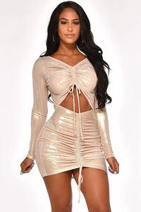 Sexy новых женщин Party Night Club Формальное животом с длинными рукавами Повседневный Bodycon платья Gold штемпель подарка Размер S-XL
