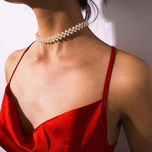Multi Layer Imitation Pearl Beads Choker Necklace Collar Statement Clavicle Chain Necklace Women Wedding Beach Party Dress Jewelry