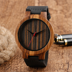 Creative Bamboo Watch Brown Dial Casual Black Leather Band Strap Quartz Wrist Watch Nature Wood Clock Fashion Style Timepiece For Men