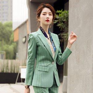 1pcs Women's plus size Blazers coats 2020 Autumn Cotton blend Splicing stripe Small Suits jackets ladies Skinny Blazers Suits