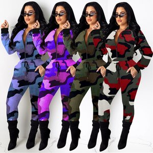 Womens 2 two piece tracksuits Camouflage pocket zipper jacket hoodies leggings pants outfits set joggers sportswear sweatsuits clothing
