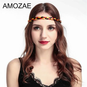 New Women Vintage Wig Headband Braids Hair Band Amozae Girls Korea Style Headband Lady Hair Accessories World Cup Flag Braided