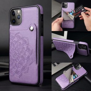 Vintage Vegan Flower Leather Dual Card Slots Wallet Bracket Back Cover Datura Slim Stent Phone Shell for iPhone 11 Pro Samsung S20 S10