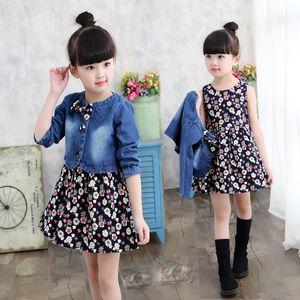 Baby Girls Clothing Spring Autumn Explosion Models Girls Suit Fashion Denim Jacket + Flower Dress Two-Piece Sweet Princess Dress S200113