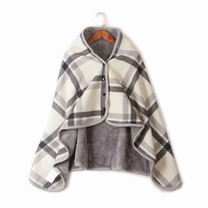 Wearable Plaid Fleece Blanket Polyester Blanket With Button Winte Warm Throws on Sofa Bed Travel Thicken Bedroom Plaids Throw