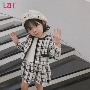LZH 2020 Autunno moda delle ragazze dei bambini Abbigliamento Plaid Coat + lungo abito leeved 2 pezzi Outfits vestito dei capretti vestiti delle ragazze Imposta 2-6 anni