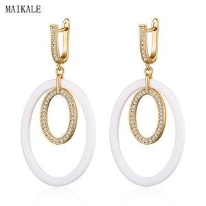 MAIKALE Simple Black White Ceramic Earrings for Women Cubic Zirconia Gold Circle Drop Dangle Earing New Fashion Jewelry