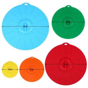 Colorful 5pcs / Set Couvercles de bol en silicone Couverture Couvercles d'aspiration gratuite BPA Couvre les couvercles micro-ondes résistant à la chaleur pour bols mer DHC452