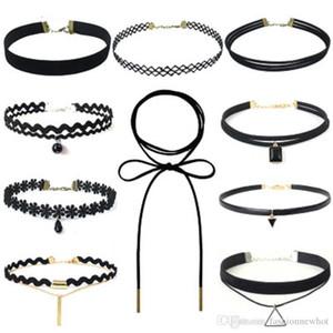 Lace Hollow Design velluto Chokers la collana nera della corda del cuoio strato catena Dichiarazione Gioielli Chocker epoca gotica per le donne a buon mercato