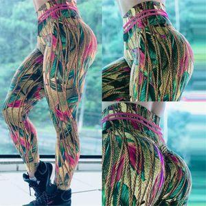Frauen Yoga Leggings mit hohen Taille Booty Push Up Leichtes Printed Unterhos Laufen Jogging Fitness Yoga Hose Gym Sport