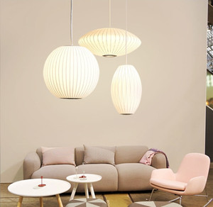 Modern George Nelson Style Silk Bubble Pendant Lamp Home Living Room Dining Room Bedroom Hanging Ball Cigar Saucer PA0363