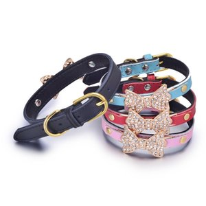 Luxe Colliers diamant Bow Decoration Animal familier chaîne Collier de chat Caniche Leash Serpentine varié Tailles 6 Choix 5WN D2
