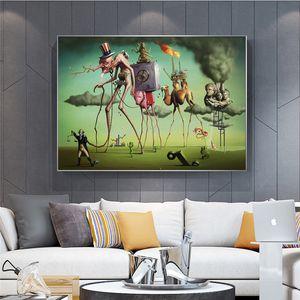 """Salvador Dali """"The American Dream"""" Pittura astratta su tela di arte della parete Immagine di Soggiorno Home Decor (No Frame)"""