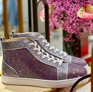 Elegant Design Homens Strass Red Sneakers inferior Shoes Rhinestone Casual Walking Perfect-marcas esportivas Mulheres Outdoor Wedding Party