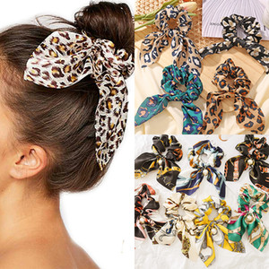 100 Pcs lot Lady Scrunchies Leopard Bow Scrunchies for Women Hair Scrunchie Pony Tail Holder Elastic Rubber Hair Bands Hair Accessories