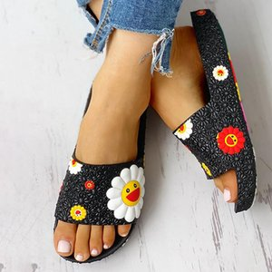 Women Summer Slippers Cute Sunflower Flat Flip Flops Ladies Soft Slides Shoes Female Print Floral Colorful Beach Casual Sandals Y200706