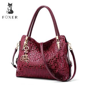 FOXER Marke Wine Red Frauen-Geldbeutel-Dame-echten Leder-Schulter-Beutel Sequin Rind schicke Handtasche Weiblicher Luxus Tote Große Kapazität