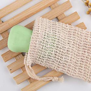 Natural Exfoliante malla Jabón Jabón Sisal Ahorro Ahorro bolsa del bolso del sostenedor para la ducha del baño de espuma y secado HHA1458