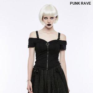Gothic Casual zipper Strapless Slim Sexy Tees Tops Punk Classic Black Short Sleeve Personality Women T-Shirt PUNK RAVE OT-506TDF
