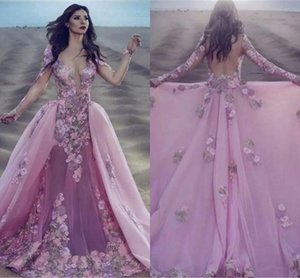 Pink Sheer Neck Overskirts Evening Dresses 2020 Saudi Arabic Long Sleeve 3D Floral Appliques Prom Gowns Illusion Back Party Dress AL656