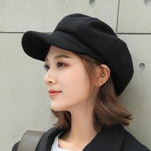 New Autumn Winter Women Hats Literary Ladies Solid Color Octagonal Hats Female British Wool Painter Octagonal Hat