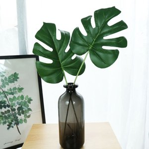 New Arrival Fake Green Leaf Artificial Monstera Leaves Tropical Plant Turtle Leaves Office Home Wedding Plants Garden Home Office Decoration