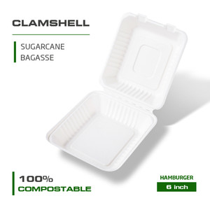 Wholesale 6 inch 8 inch 9 inch 100% Compostable Clamshell Take Out Food Container Heavy Duty Quality To Go Container