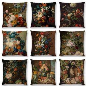 Klassische Blumen und Pflanzen Stillleben Blumenzucht Vase Blatt Obst Ölgemälde-Kunst Bunter Kissenbezug Kopfkissenbezug