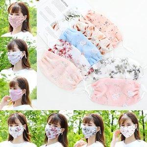 la cara del sol de diseñador protección máscaras de gasa ajustable protección UV impresa máscara de verano a prueba de polvo finas cara designermask moda transpirable