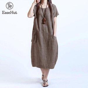 EaseHut 4XL 5XL più il vestito modo delle donne casuale allentato vestito solido di colore a maniche corte tasca estate Vintage Midi lungo