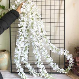 الزهور خلفية الديكور 120CM طويل الاصطناعي الوستارية زهرة الكرمة الحرير الكوبية القش DIY الزفاف حفلة عيد الميلاد ستريت