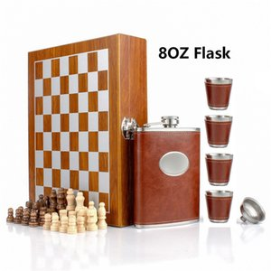 Wooden Chess 8OZ Stainless Steel Leather Hip Flask Set with Funnel and 4 Cups Gift Box Gifts for Men Flasks Liquor