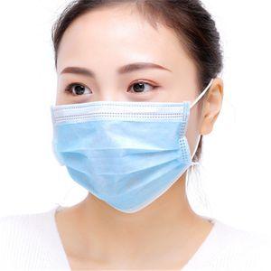 Desechable no tejido 3 capas Mascarillas con elástico Ear Loop transpirable para el bloqueo de polvo del aire anticontaminación de la máscara al por mayor de DWA612